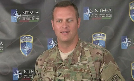 Lt. Col. Jeffrey Krusinski appeared in a Defense Department video applauding the Air Force Academy's athletic teams.