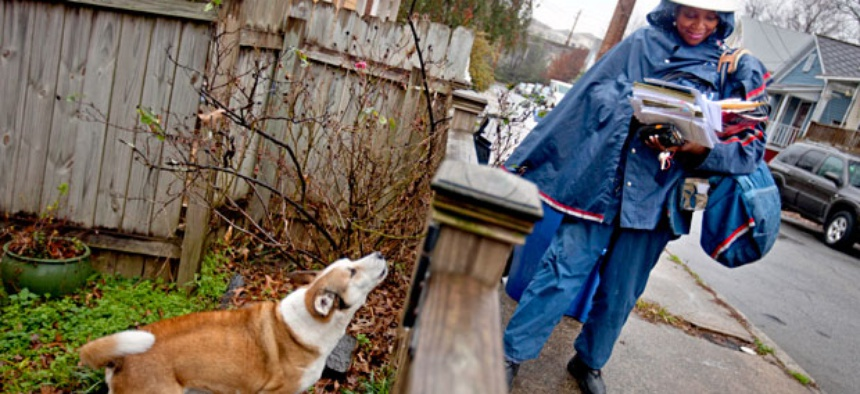 U.S. Postal Service letter carrier of 12 years, Jamesa Euler, encounters a barking a dog while delivering mail in Atlanta.