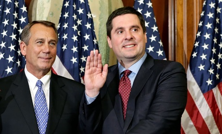 Rep. Devin Nunes, R-Calif., right, stands for a ceremonial photo with Speaker of the House John Boehner, R-Ohio.