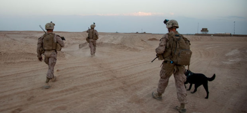 Marines conduct a training at Camp Leatherneck in Afghanistan.