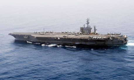 The Navy's  USS Nimitz transits the Indian Ocean.