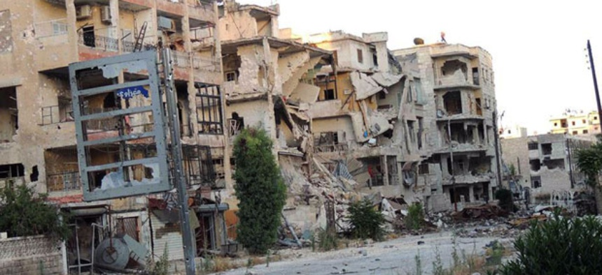 Buildings in Aleppo have been damaged by the ongoing war in Syria.