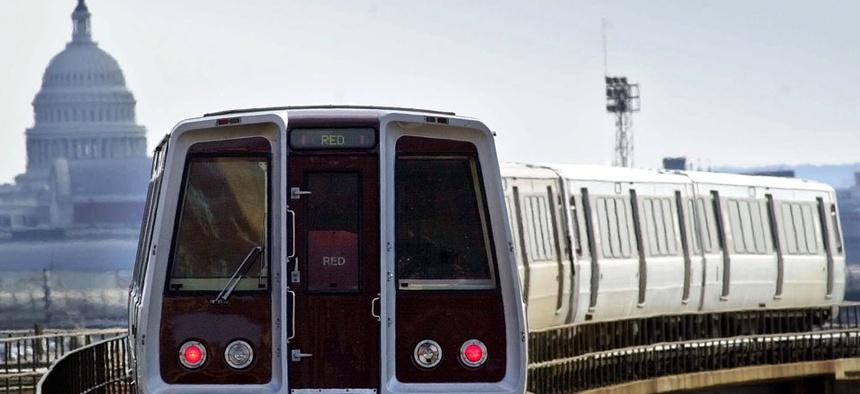 A Washington Metro train makes its way toward Union Station.