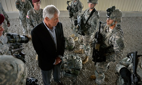 Defense Secretary Chuck Hagel talks to troops at Fort Bragg, N.C.