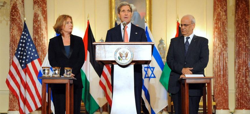 John Kerry, Israeli Justice Minister Tzipi Livni, and Palestinian Chief Negotiator Saeb Erekat address reporters July 30.