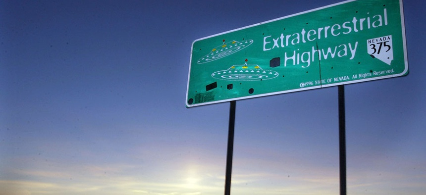 A car moves along the Extraterrestrial Highway near Rachel, Nevada, which runs along the eastern border of Area 51.