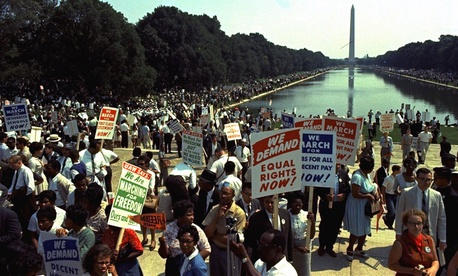 Estimates of the number of participants in the 1963 march vary from 200,000 to 300,000.