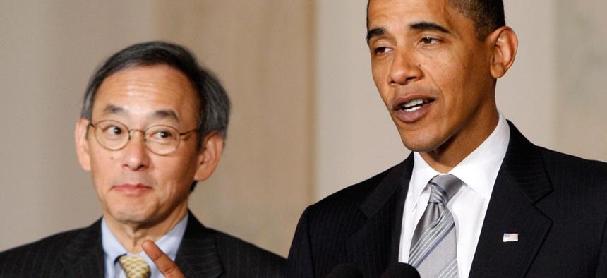 President Barack Obama, accompanied by Energy Secretary Steven Chu