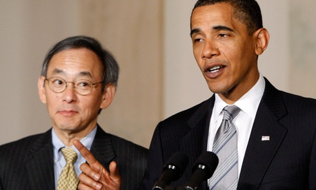 President Barack Obama, accompanied by Energy Secretary Steven Chu