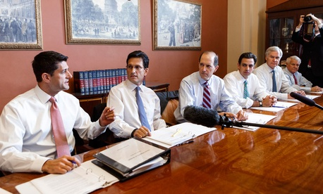 House Budget Committee Chairman Paul Ryan, R-Wis., House Majority Leader Eric Cantor, R-Va., House Ways and Means Committee Chairman Dave Camp , R-Mich., and Rep. Tom Graves, R-Ga., talk briefly to reporters Oct. 1.
