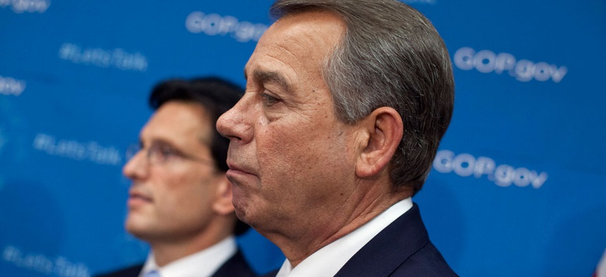 Speaker John Boehner, R-Ohio, and Majority Leader Eric Cantor, R-Va., participate in a press conference Tuesday morning.