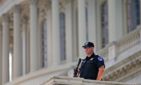 A Capitol Police officer stands guard during the incident Oct. 4.