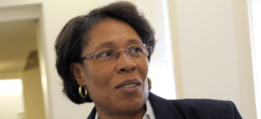 """Rep. Marcia Fudge, D-Ohio, introduced a resolution """"expressing the sense of the House of Representatives supporting federal employees."""""""
