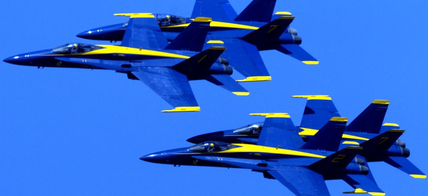 The Blue Angels fly over the San Francisco Bay during Fleet Week.