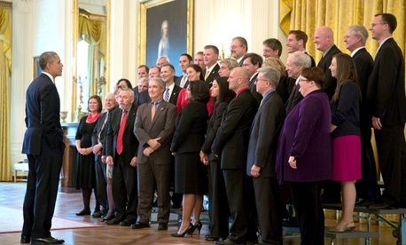 President Obama meets with the 2013 Samuel J. Heyman Service to America Medals finalists and winners.