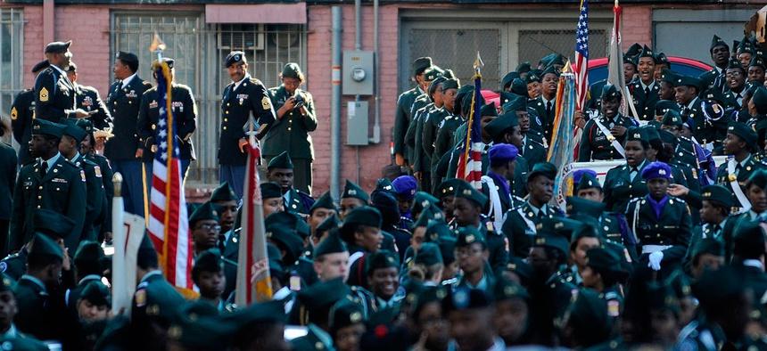 Veterans participate in a Veterans Day parade in Atlanta in November.