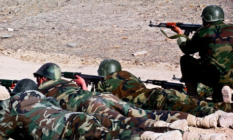 Afghan soldiers conduct basic marksmanship training in 2009