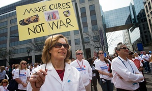 "Lorraine Gudas, chair of pharmacology at Weill Cornell Medical College, and others, participate in a ""Rally for Medical Research,"" Monday, April 8, 2013, in Washington."