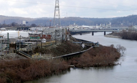 A chemical plant is located along a branch of the Kanawaha River in South Charleston, W.Va.