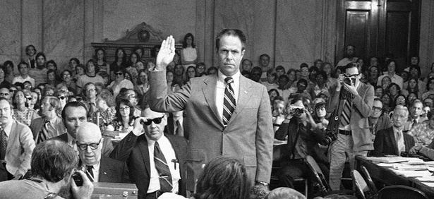 H.R. Haldeman, former chief of staff to President Nixon, is sworn in before the Senate Watergate Committee in 1973.