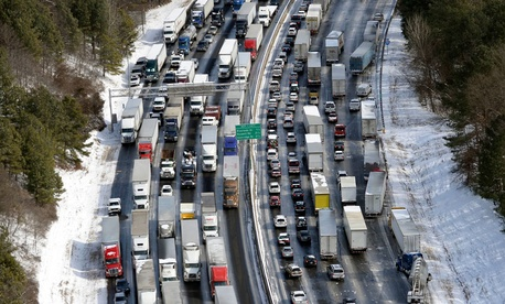 Traffic was snarled along the I-285 perimeter north of the metro area after a winter snow storm Wednesday.