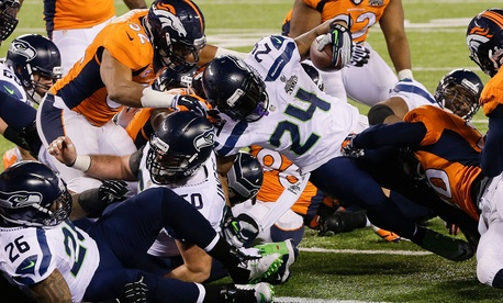 Seahawks running back Marshawn Lynch scored a touchdown in the Super Bowl Sunday.