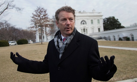 Sen. Rand Paul, R-Ky., talks to media outside the White House in  January.