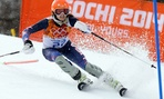 United States' Julia Mancuso finishes the slalom portion of the women's supercombined to win the bronze medal at the Sochi 2014 Winter Olympics.