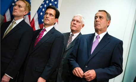 From left to right: Representatives James Lankford (withheld his pay), Eric Cantor (did not respond), Pete Sessions (did not pledge) and John Boehner (withheld).