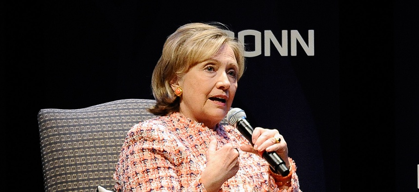 Clinton spoke at University of Connecticut earlier this week.