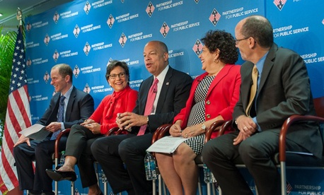 Partnership for Public Service president Max Stier, far left, hosted Penny Pritzker, Jeh Johnson, Katherine Archuleta,  and Thomas E. Perez at the town hall.