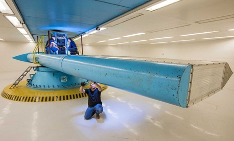 A recently renovated centrifuge used in nuclear weapon assessments at Sandia National Laboratories. The Energy Department branch overseeing the lab is rejecting a finding by congressional auditors that it should know how much money could be saved by enact
