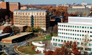 An aerial view of the NIH campus