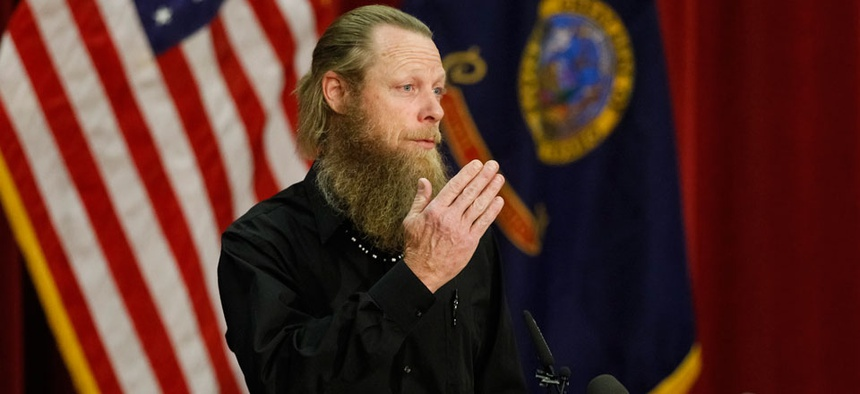 Bowe Bergdahl's father Bob Bergdahl speaks to the media during a press conference at Gowen Field in Boise, Idaho.