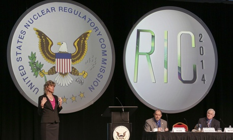 NRC's Allison Macfarlane gives the keynote at the  Regulatory Information Conference in March.