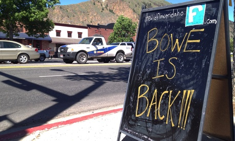 A sign celebrating the release from captivity of Sgt. Bowe Bergdahl stands on a street in the soldier's hometown of Hailey, Idaho.