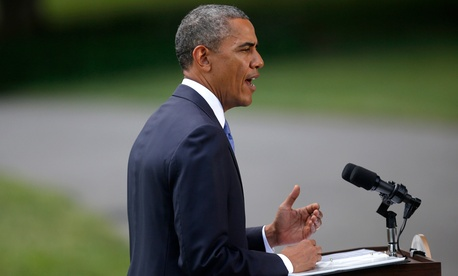 Obama spoke from the South Lawn of the White House Friday.