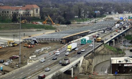The I-75 in Dayton, Ohio undergoes repairs.