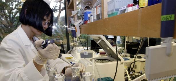 Mei Li, senior scientist at Hollis-Eden Pharmaceuticals, works to develop an anti-radiation drug in 2004.