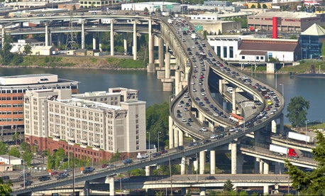 A highway interchange south of downtown Portland, Oregon.