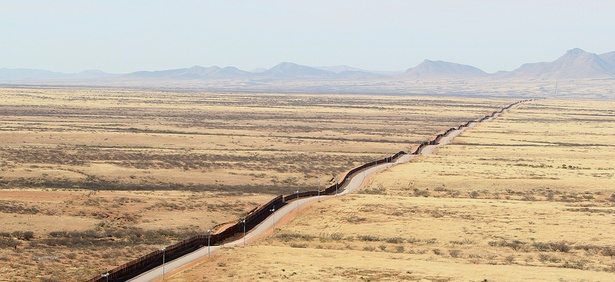 The border fence stretches across Arizona's southern end.