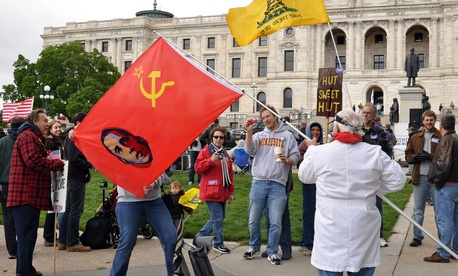 Tea Party protestors rally in St. Paul, Minnesota in 2010.