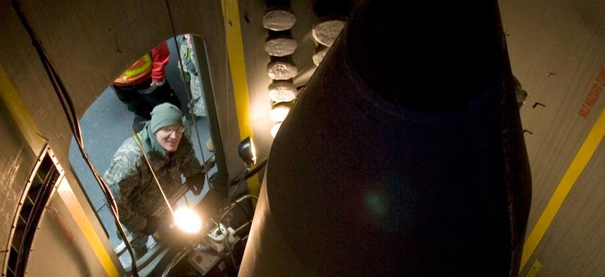Then-Missile Defense Agency Director Lt. Gen. Patrick O'Reilly examines a missile-interceptor deployed at Fort Greely, Alaska, in 2010.