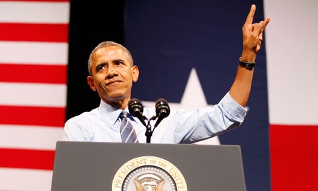 President Barack Obama speaks on the economy at the Paramount Theatre in Austin, Texas.