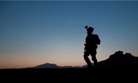 A U.S. Army ranger patrols in Kandahar province, Afghanistan, in 2011.