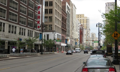 Woodward Avenue in downtown Detroit will be transformed to accommodate the M-1 Rail streetcar line.