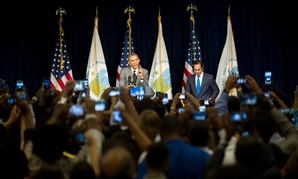 Obama spoke to HUD employees Thursday
