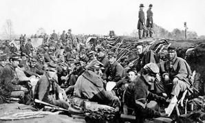 Union soldiers wait in Fredericksburg, Virginia in 1965.