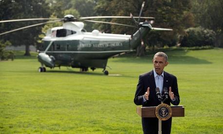 Obama addressed the press Saturday.