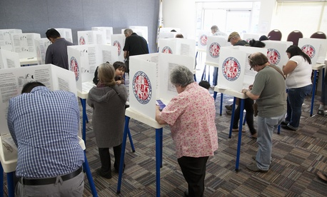 Ventura County, California residents used voting booths in the 2012 national election.